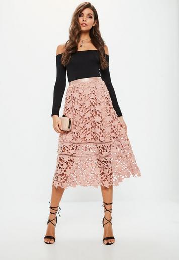 Missguided - Premium Pink Crochet Lace Full Midi Skirt