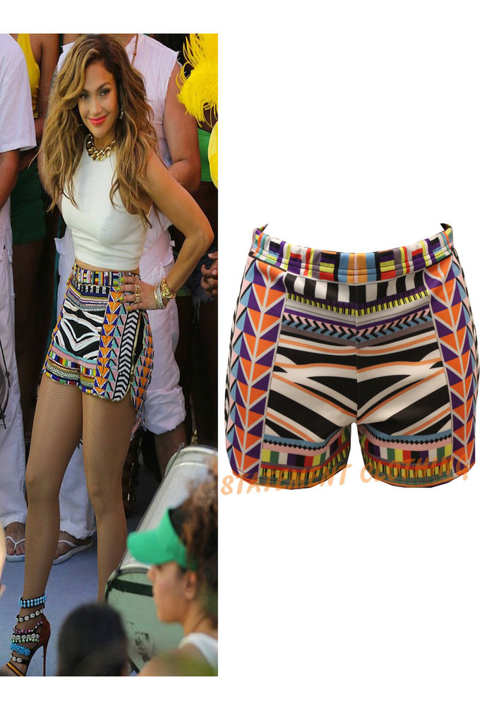 WOMENS LADIES CELEB INSPIRED JLO AZTECH STRIPE MULTI PRINT HOT PANT SHORT