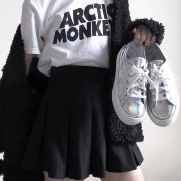 shirt skirt black skirt black white skater skirt arctic monkeys shoes indie grunge