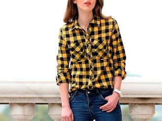 shirt trendy checkered checked shirt checkered shirt yellow yellow top black t-shirt girl girly girly wishlist outfit outfit idea fall outfits winter outfits office outfits cute outfits streetwear streetstyle streetlook