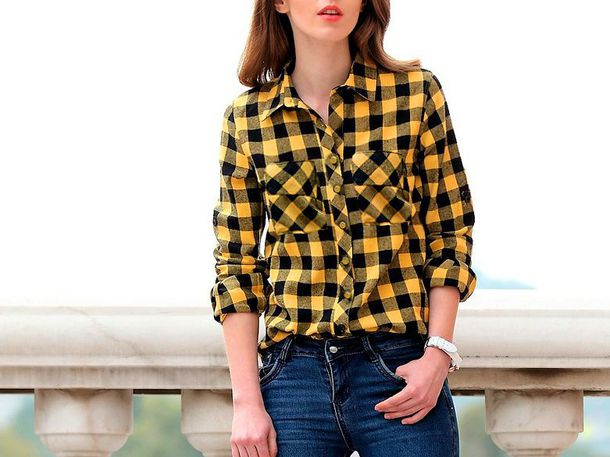 shirt trendy checkered checked shirt checkered shirt yellow t-shirt girl outfit outfit idea fall outfits office outfits cute outfits streetwear streetstyle streetlook