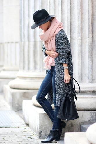 jeans baby pink blogger scarf bag cardigan sirma markova fedora watch knitted cardigan