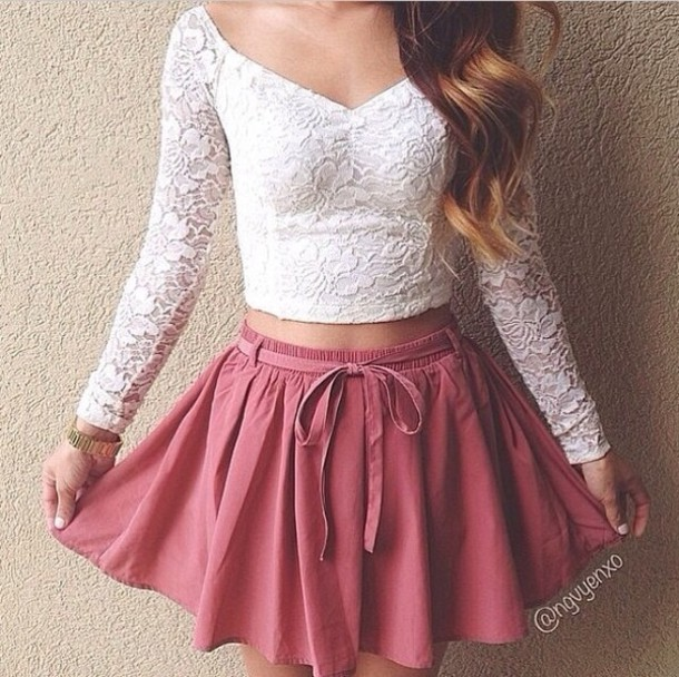 Cute White t Shirt Tops Skirt Shirt Lace Cute