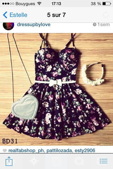petite dress floral little black dress fleurs robe robes fleurie vintage noire bag belt