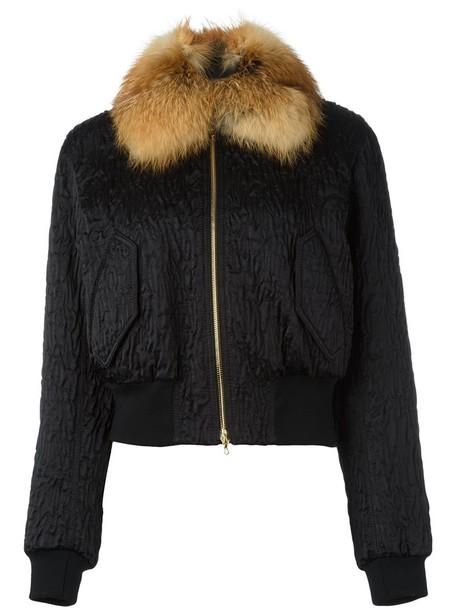 Lanvin - fox fur collar bomber jacket - women - Silk/Cotton/Fox Fur/Polyester - 38, Black, Silk/Cotton/Fox Fur/Polyester