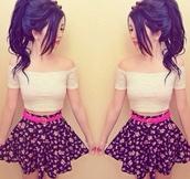 skirt,crop tops,white crop tops,off the shoulder,poofy skirt,high waisted skirt,pink,black,floral,pink flowers,shirt