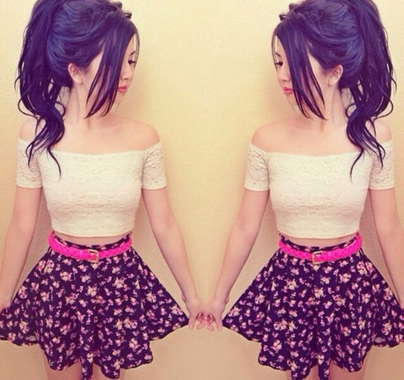 floral pink skirt pink flowers crop tops shirt white crop tops off the shoulder poofy skirt highwaisted skirt black