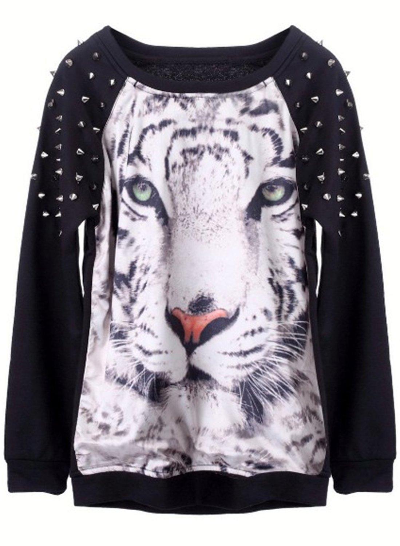 Black Tiger Face Print Rivets Sweatshirt (M, Black) at Amazon Women's Clothing store: Fashion Sweatshirts