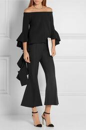 pants,cold shoulder,kick flare,kick flare pants,black pants,top,black top,bell sleeves,bell sleeves top,off the shoulder top,sandals,pointed toe pumps,pumps,black pumps,all black everything