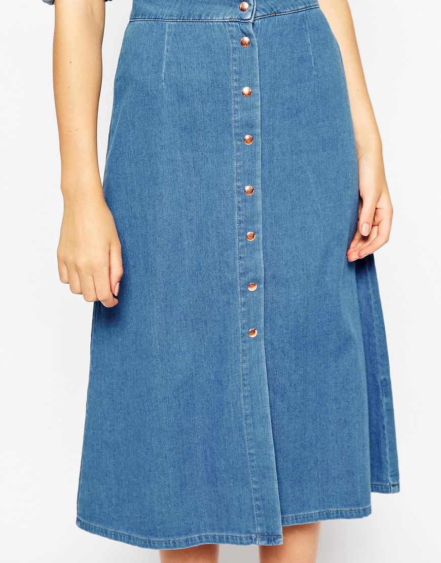 Denim Button Through Western Midi Skirt at asos.com
