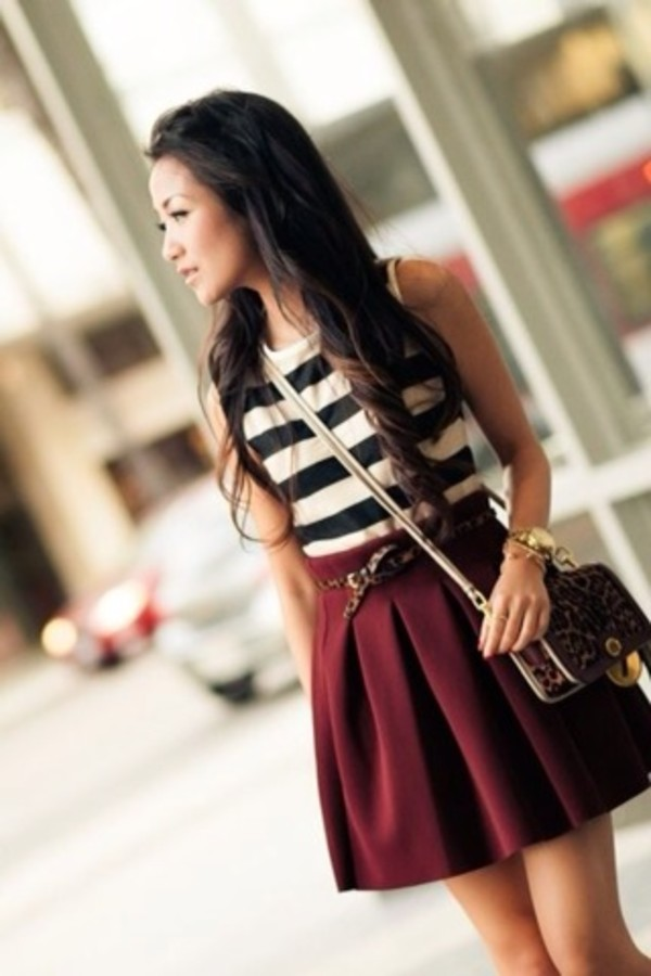skirt burgundy pleated skirt high waisted skirt colorful vibrant shirt bag belt blouse jewels burgundy skirt a-line skirt stripes blue shirt sleeveless top cute fashion black and white cute outfits casual teenage fashion teenagers top wine red black white