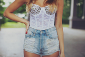 t-shirt,shorts,High waisted shorts,corset top,white,studs,ripped shorts,lace,blouse,shirt,short top white corsage,denim shorts,bustier,high waisted short jeans,white tank top,clothes,summer,summerish,summer outfits,outfit,ripped jeans,summer shorts,cut offs,white bustier,bustier top,top,studds,denim,sexy