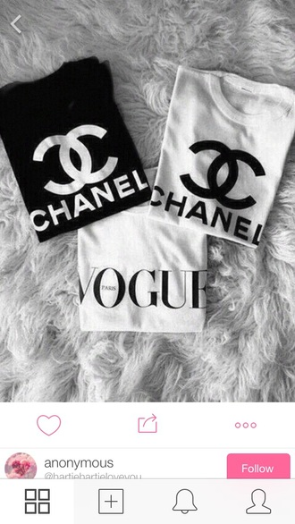 shirt vogue black and white chic chanel t-shirt t-shirt