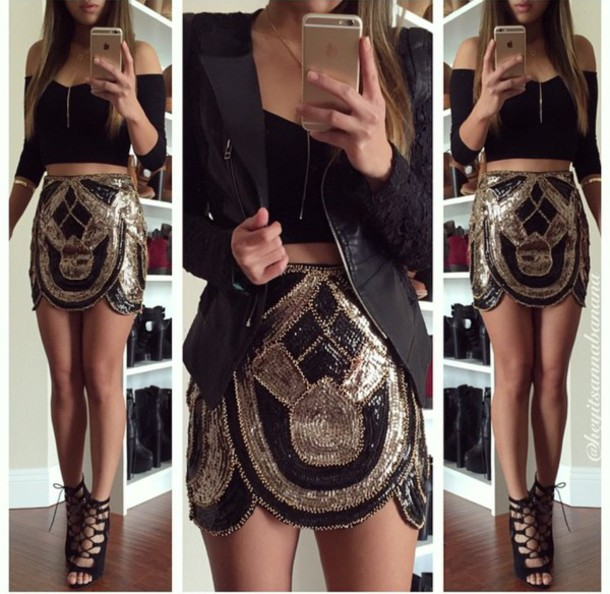skirt sequins sequin skirt gold shirt shoes