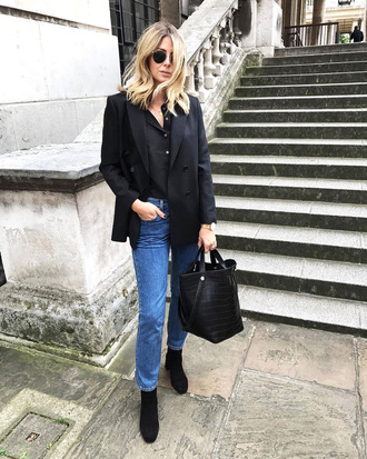 jacket tumblr blazer black blazer denim jeans white jeans boots black boots bag black bag sunglasses shirt black shirt