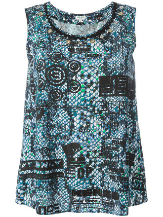 tank top top women print blue