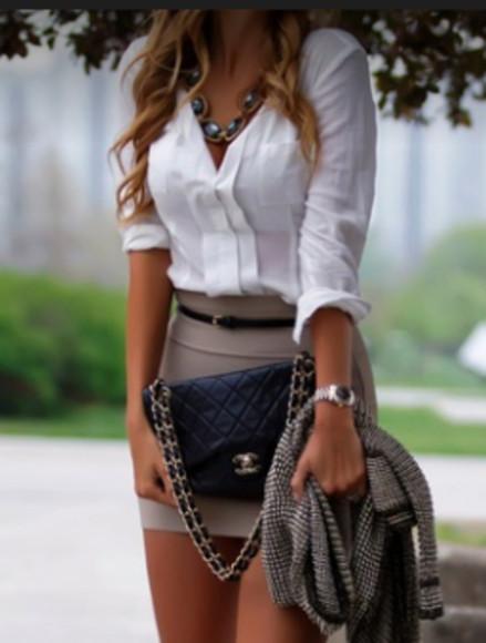 skirt jewels beige cream blouse pencil skirt