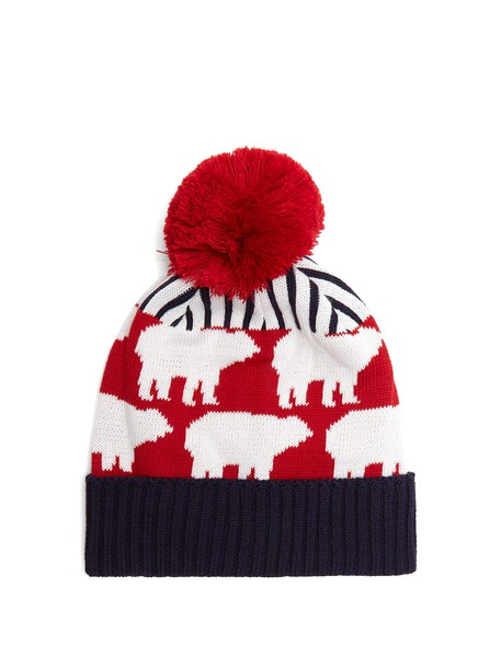 Perfect Moment bear hat beanie wool navy