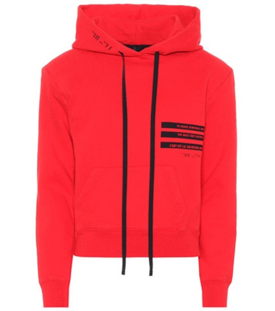 Unravel Cropped cotton hoodie in red
