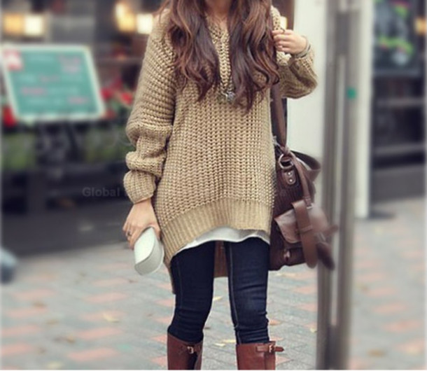 Sweater: tan, oversized sweater - Wheretoget