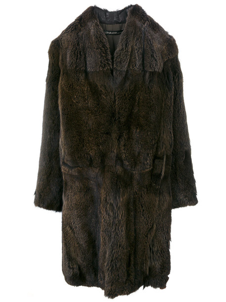 32 PARADIS SPRUNG FRÈRES coat fur fox women silk brown