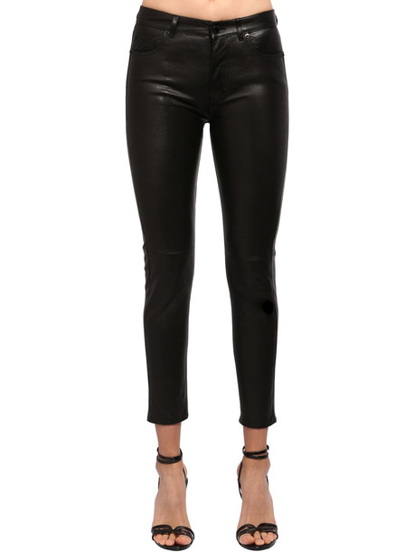 SAINT LAURENT Leather Skinny Pants in black