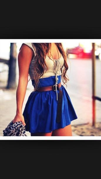 skirt dress grey blue mini dress patch belt