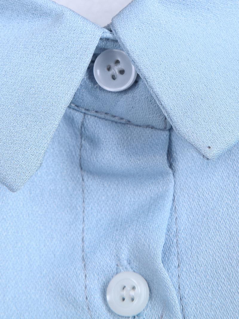 Blue Long Sleeve Back Hollow Crop Blouse - Sheinside.com