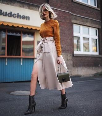 skirt midi skirt nude skirt high waisted skirt top ribbed top boots black boots slit skirt ankle boots