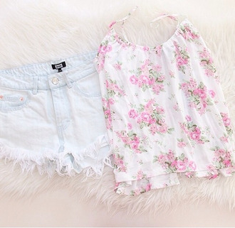 skirt blouse silk pink flowery shirt cute pink flowers tank top shorts top white pink purple floral summer girly flowers romper bodysuit pink bodysuit ribbed lace up