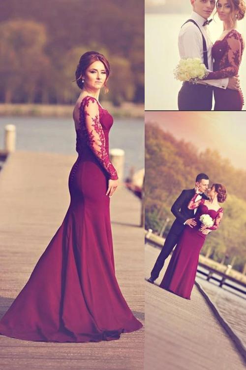 Solid dark purple bedding - Long Sleeve Mermaid Prom Dresses 2016 Sweetheart Backless