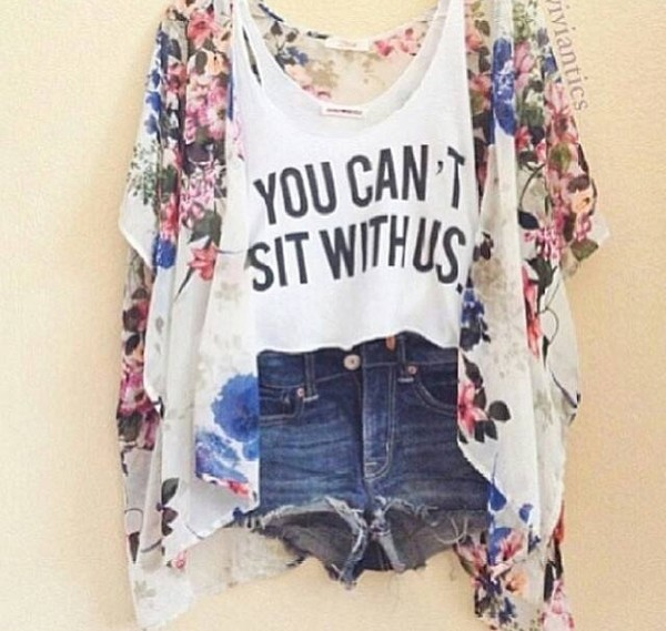 tank top jacket white tank top crop tops mean girls top funny shorts flowers jeans floral