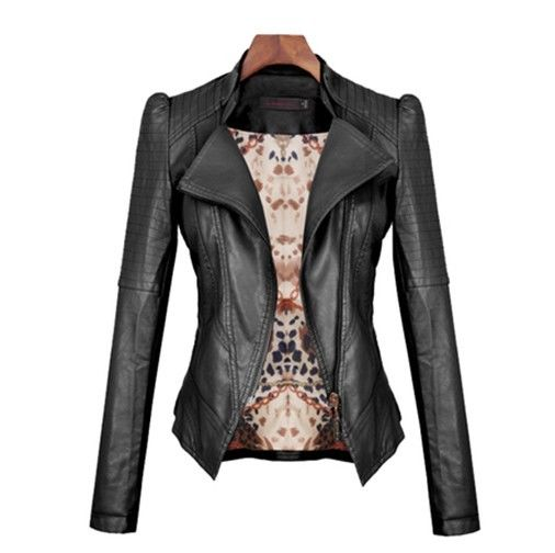 2014 New Women's jackets Short Slim Collar motorcycle leather jacket coat