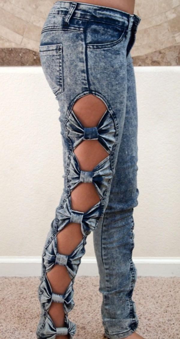 jeans bows clothes acid wash jeans diy pretty bottoms unique jeans stylish acid wash