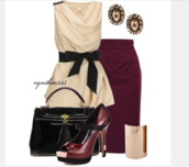 blouse,top,shirt,sleeveless top,cream top,belted top,draped,draped neck,skirt,plum skirt,earrings,shoes,heels,high heels,peep toe heels,bag,purse,bracelets,cuff bracelet,clothes,outfit,plum