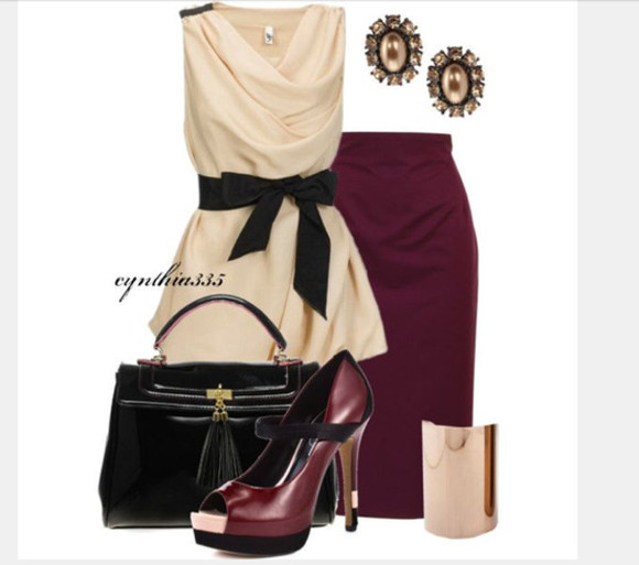 cream top shirt blouse clothes skirt top high heels bag purse outfit shoes sleeveless top belted top draped draped neck plum skirt earrings peep toe heels bracelet cuff bracelet