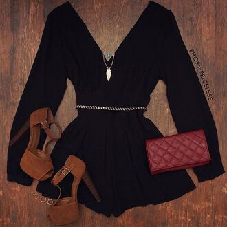 romper light brown heels black cute clubwear clutch shoppriceless burgundy