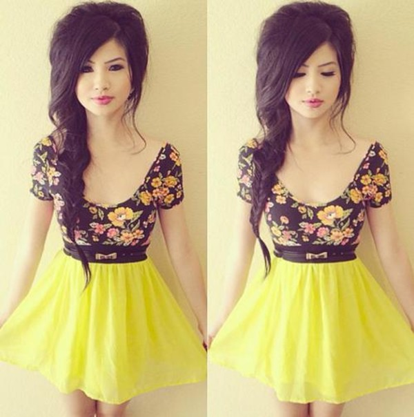 t-shirt clothes shorts skirt blouse belt floral yellow skirt dress stylish dress crop tops