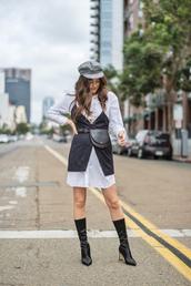 dress,hat,tumblr,shirt dress,blue dress,slip dress,boots,black boots,belt bag,fanny pack,fisherman cap