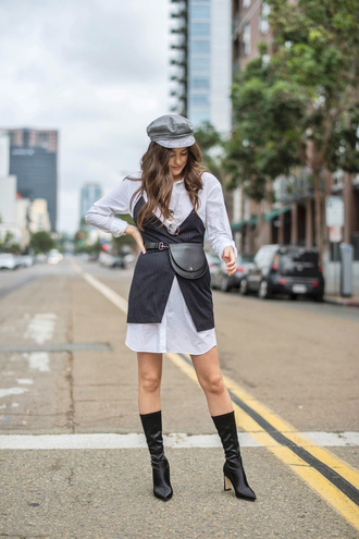 dress hat tumblr shirt dress blue dress slip dress boots black boots belt bag fanny pack fisherman cap
