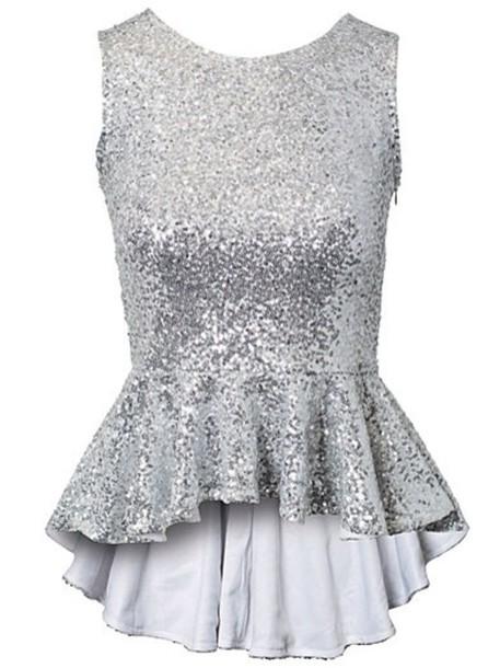 6f66a4b76a5 shirt, silver, sequin top, sequins - Wheretoget