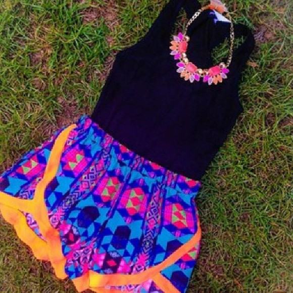 shorts colorful tribal print shorts crop tops aztec short black crop top neon