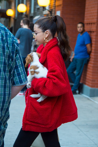 jacket fleece black boots selena gomez red jacket gold hoops