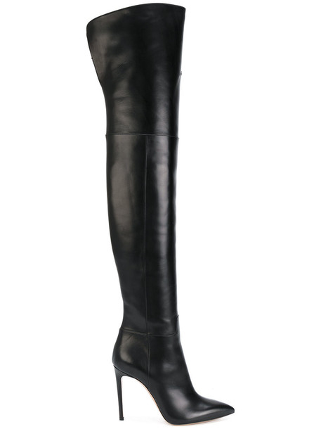 CASADEI women boots leather boots leather black shoes