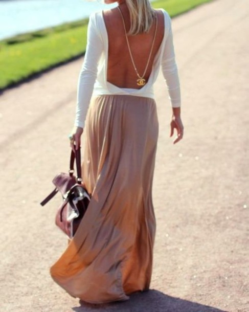 jewels blouse white blouse sweater skirt maxi dress cute pink silk long maxi dress white open back shirt brown skirt white top necklace chanel long maxi dress top backless top low back top backless swaeter
