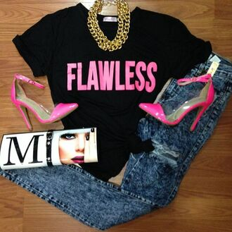 flawless quote on it top black hipster crop tops black top t-shirt jeans bag shoes pink heels denim jewels shirt