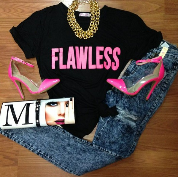 flawless quote on it top black hipster crop tops black top t-shirt t-shirt jeans bag shoes pink heels denim jewels shirt