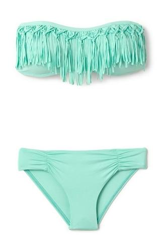 swimwear bikini l space knotted fringe fringe swimwear elite fashion swimwear blue swimwear fringe bikini