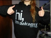 sweater,hi i'm awkward.,coat,black sweater,white letters,long sleeves,warm,andrea russett,top,jacket