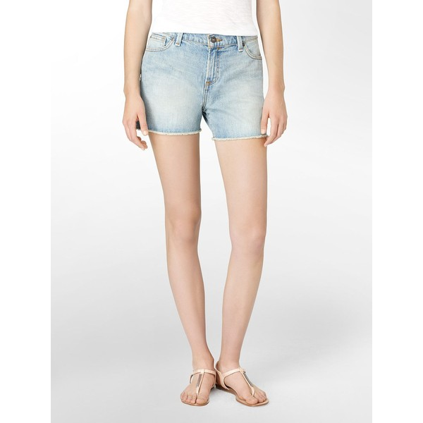 Calvin Klein Cutoff Light Wash Cut Denim Shorts - Polyvore